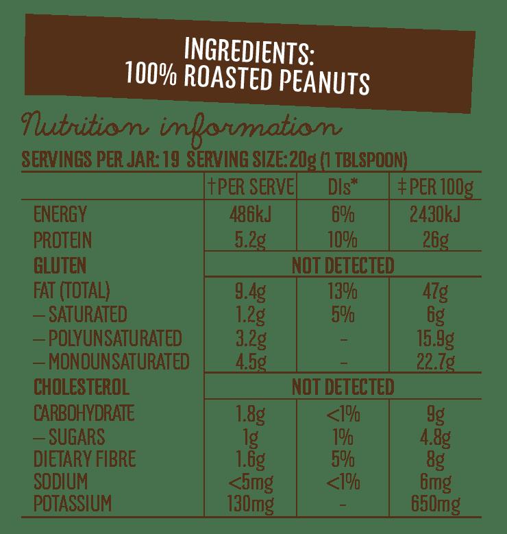 Mayvers dark roasted unsalted Peanut Butter Nutritional information