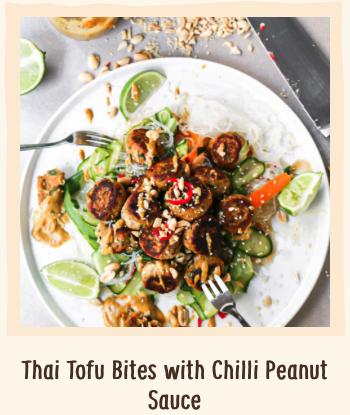 Healthy Tofu Bites Peanut Chile Sauce