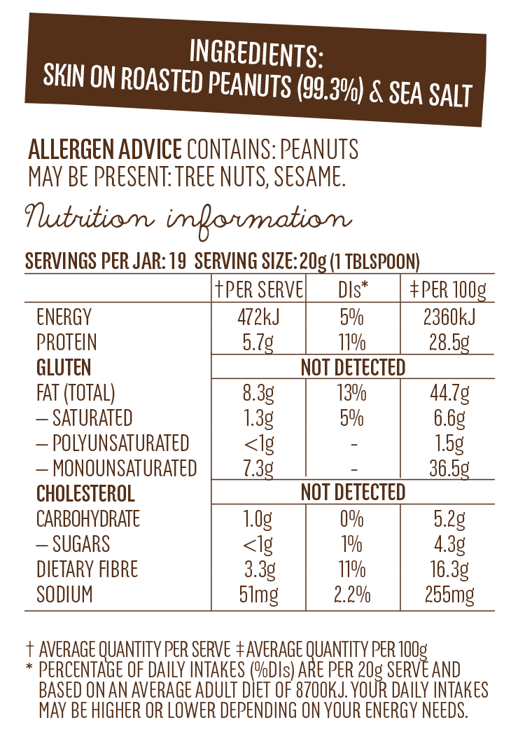 Skin On Peanut Butter Nutritional Pannel