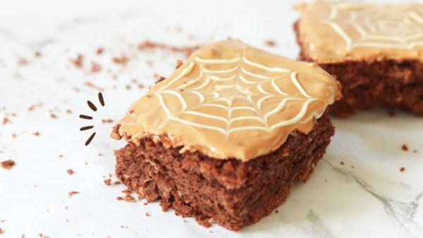 Spiderweb peanut butter brownies